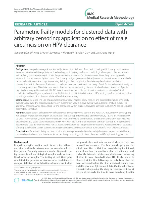 PDF) Parametric frailty models for clustered data with