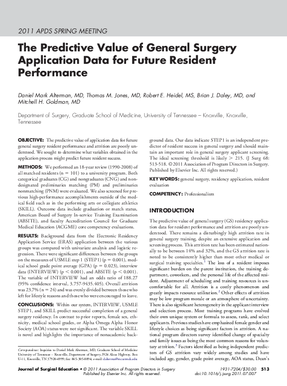 PDF) The Predictive Value of General Surgery Application