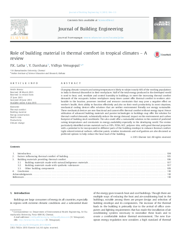 PDF) Role of building material in thermal comfort in