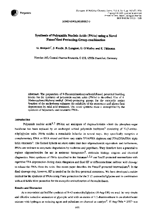 PDF) The synthesis of polyamide nucleic acids using a novel