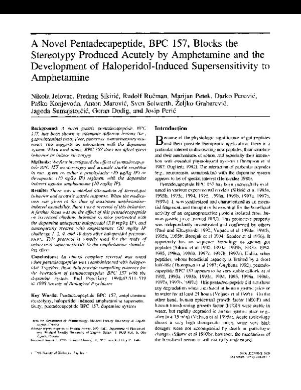 PDF) A novel pentadecapeptide, BPC 157, blocks the