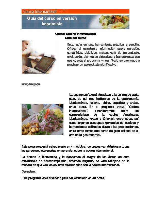 Pdf Guía Del Curso En Versión Imprimible Curso Cocina