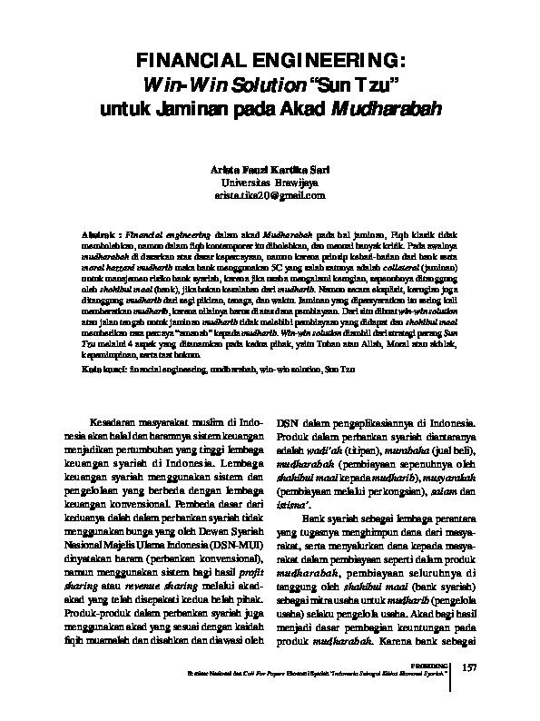 Pdf Financial Engineering Win Win Solution Sun Tzu Untuk Jaminan Pada Akad Mudharabah Arista Fauzi Kartika Sari Academia Edu