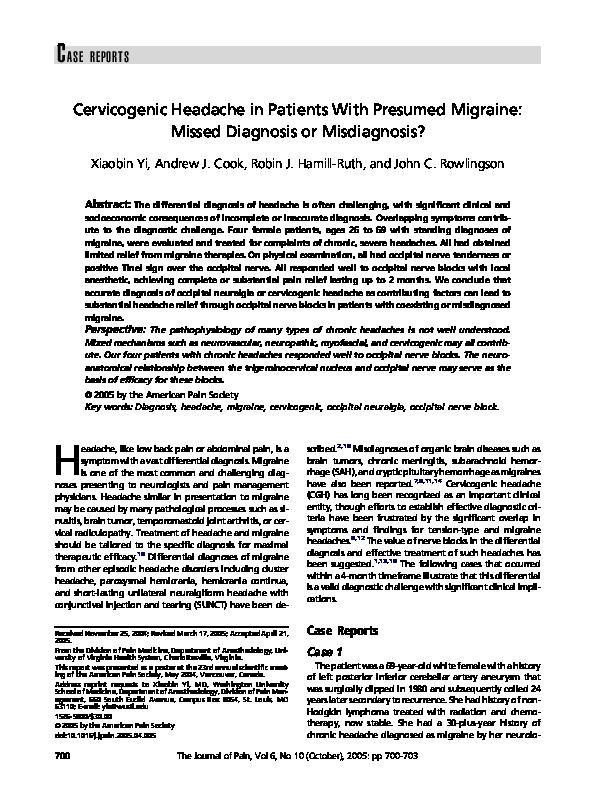 PDF) Cervicogenic Headache in Patients With Presumed Migraine