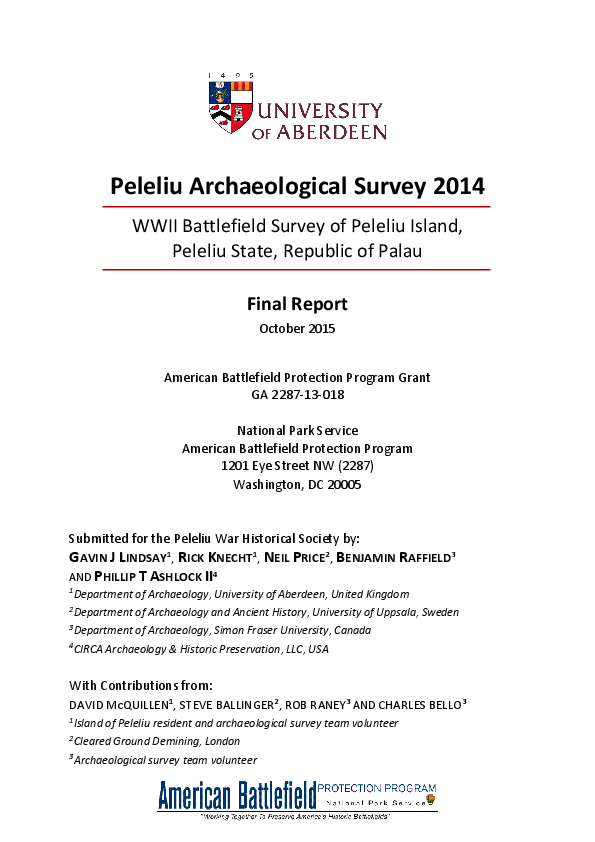 timeless design e46dd 0167a PDF) Peleliu Archaeological Survey 2014  WWII Battlefield Survey of ...
