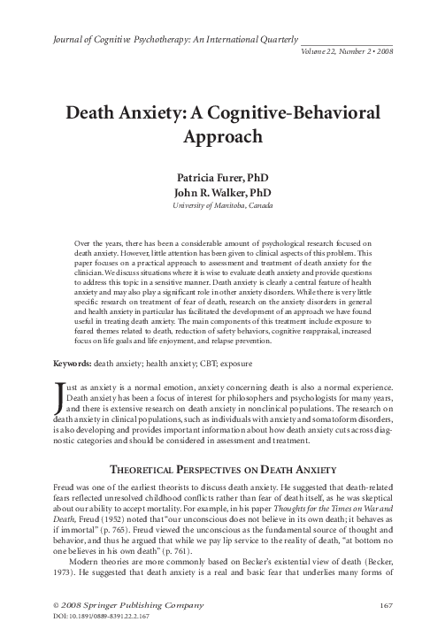 Pdf Death Anxiety A Cognitive Behavioral Approach Patricia