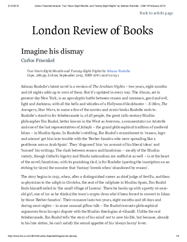 PDF) Rushdie and Averroes: LRB review of Salman Rushdie's 2015 Novel