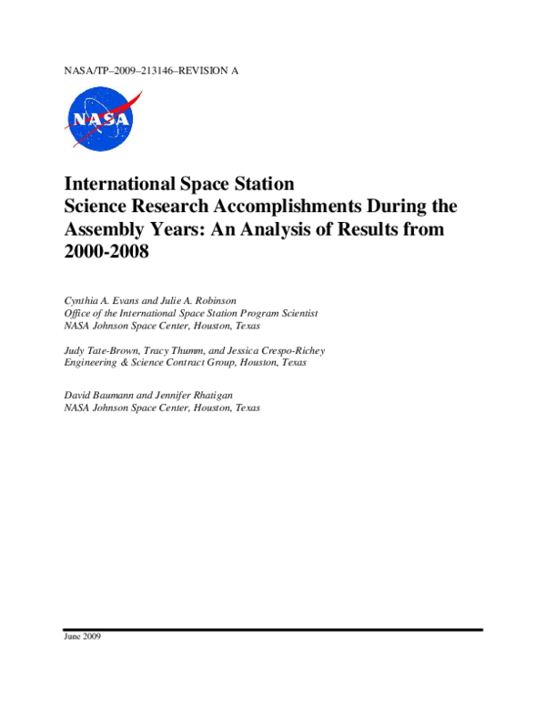 PDF) International Space Station Science Research