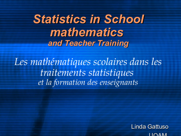 PPT) Statistics in School mathematics and Teacher Training | Linda
