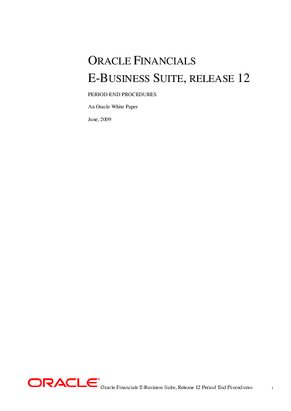 PDF) Oracle Financials E-Business Suite, Release 12 Period End