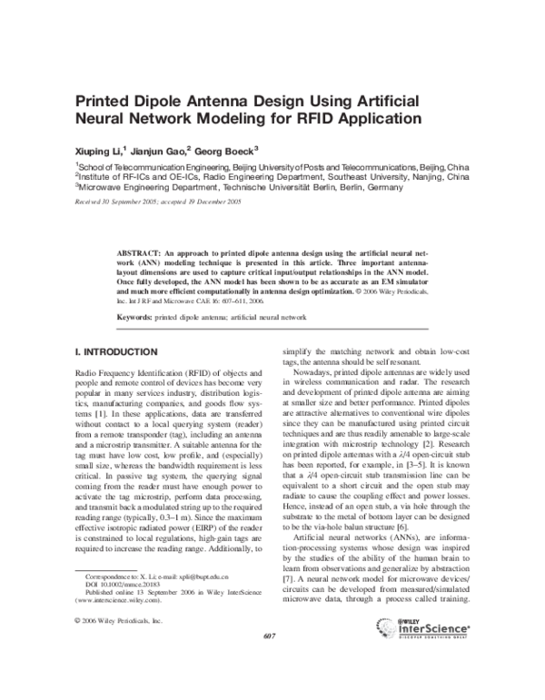 PDF) Printed dipole antenna design using artificial neural