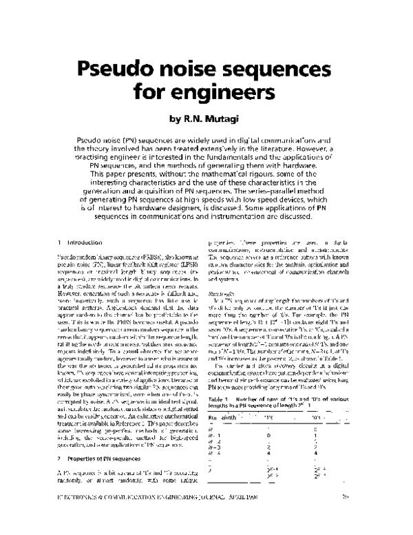 PDF) Pseudo noise sequences for engineers | R N Mutagi - Academia edu