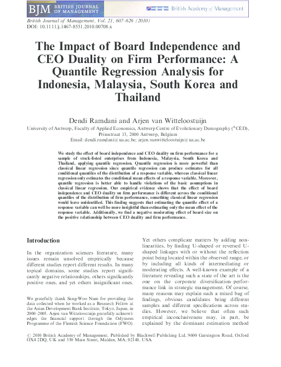 PDF) The Impact of Board Independence and CEO Duality on