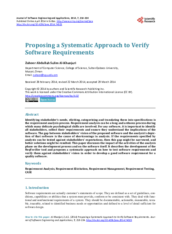 Pdf Proposing A Systematic Approach To Verify Software Requirements Zuhoor Al Khanjari Academia Edu