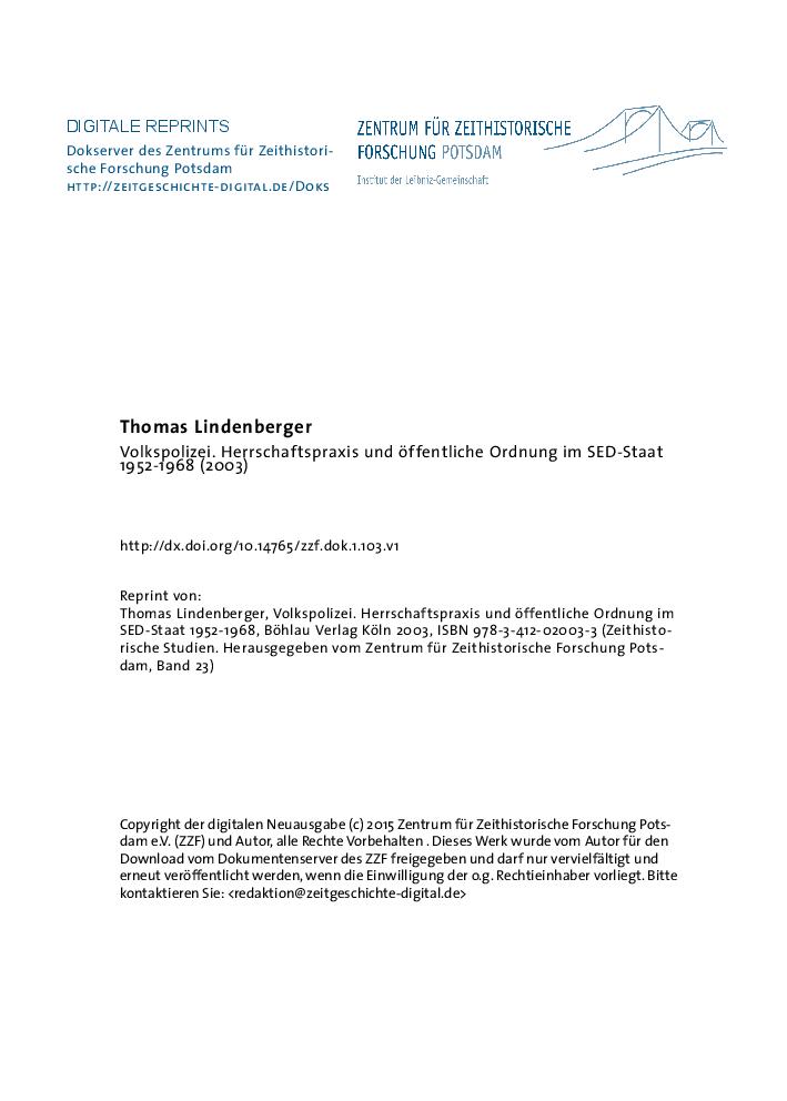 Pdf Volkspolizei Herrschaftspraxis Und Offentliche Ordnung Im Sed Staat 1952 1968 Koln Weimar Wien Bohlau 2003 Zeithistorische Studien Hg V Zentrum Fur Zeithistorische Forschung Potsdam Bd 27 504 P Thomas Lindenberger Academia Edu