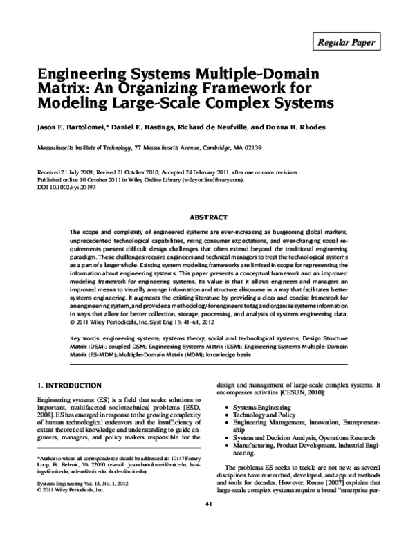 PDF) Engineering Systems Multiple-Domain Matrix: An