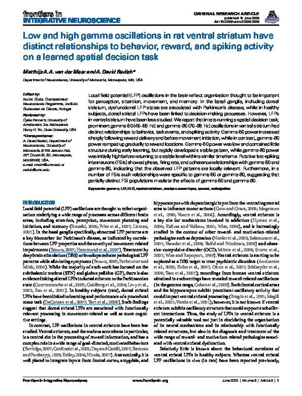 PDF) Low and high gamma oscillations in rat ventral striatum