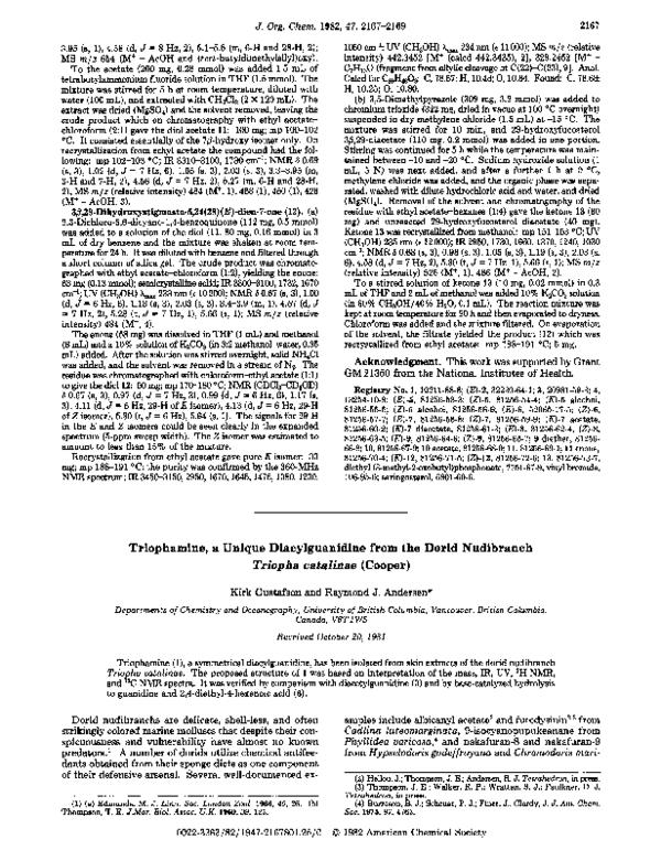 PDF) Triophamine, a unique diacylguanidine from the dorid