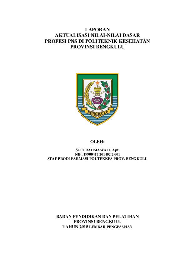 Laporan Aktualisasi Nilai Nilai Dasar Pns Research Papers Academia Edu