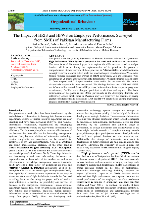 PDF) The Impact of HRIS and HPWS on Employee Performance