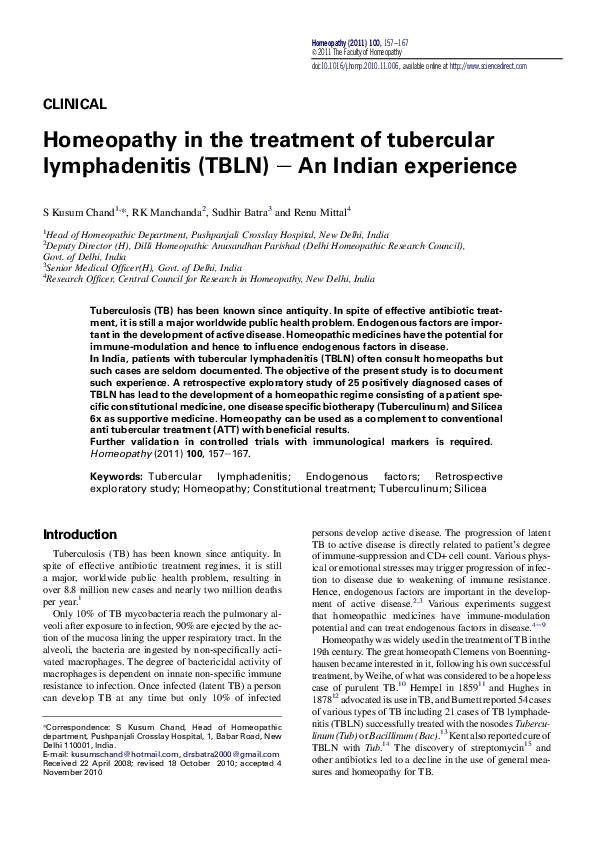 PDF) Homeopathy in the treatment of tubercular lymphadenitis