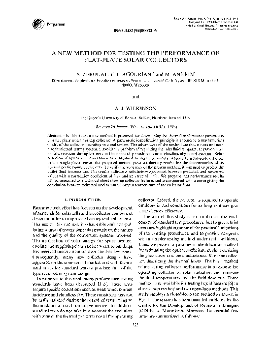 PDF) A new method for testing the performance of flat-plate