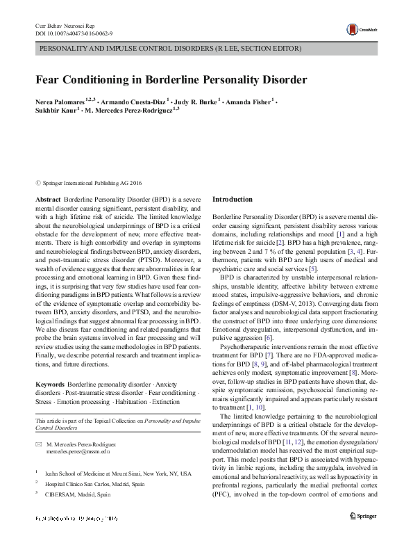 PDF) Fear Conditioning in Borderline Personality Disorder
