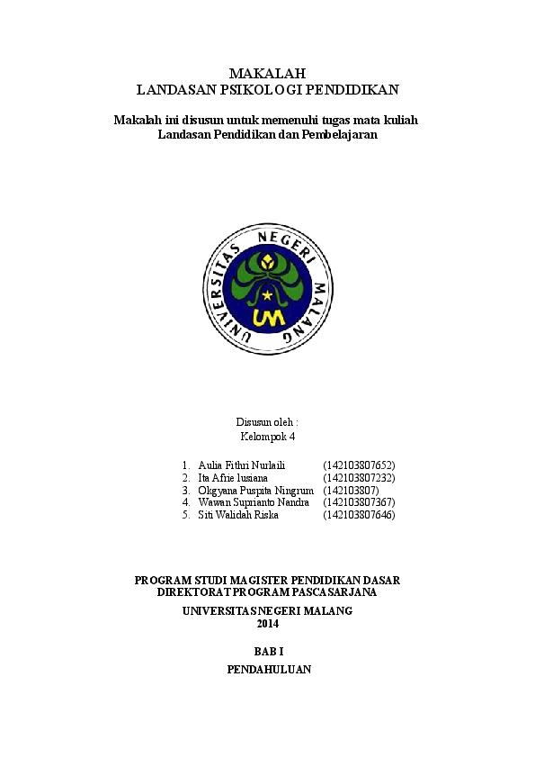Doc Landasan Psikologi Pendidikan Makalah Ini Disusun Untuk Memenuhi Tugas Mata Kuliah Niratisaya Batik Academia Edu
