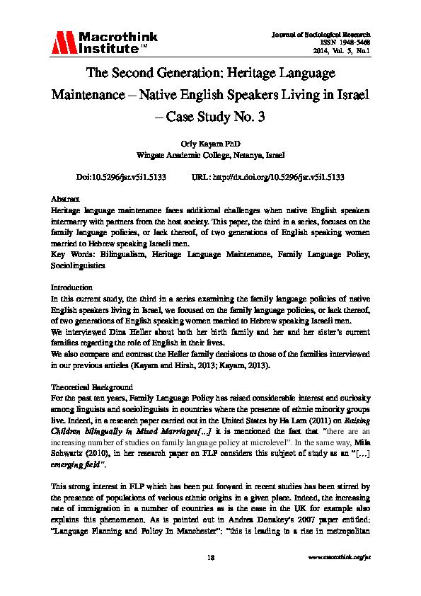 Tannenbaum Dxf.Pdf The Second Generation Heritage Language Maintenance Native