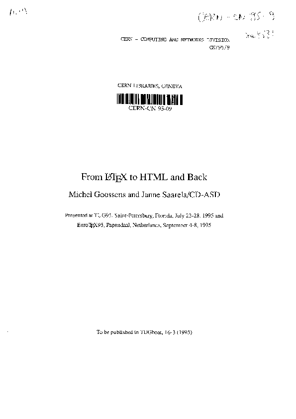 PDF) From LATEX to HTML and back | Janne Saarela and Michel Goossens
