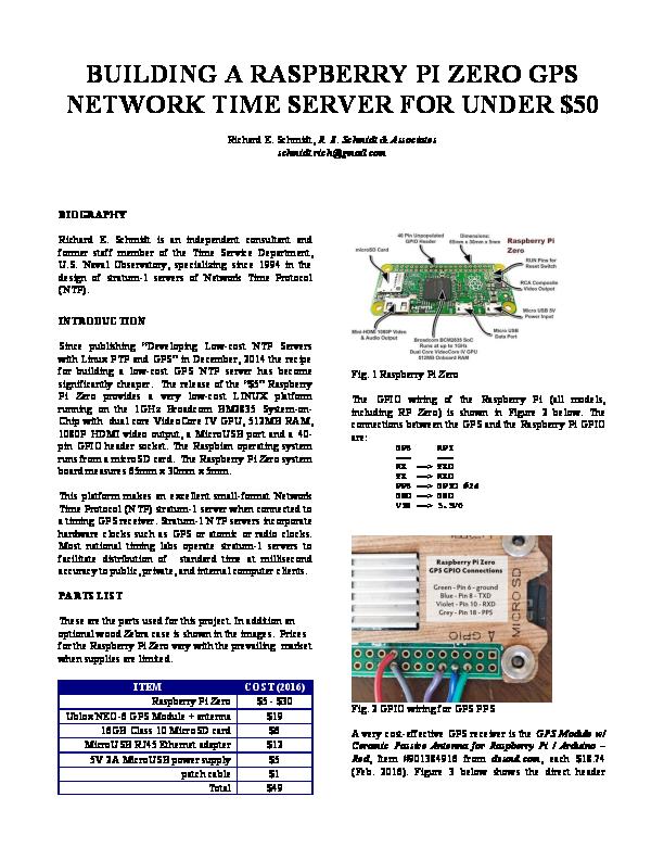 PDF) BUILDING A RASPBERRY PI ZERO GPS NETWORK TIME SERVER
