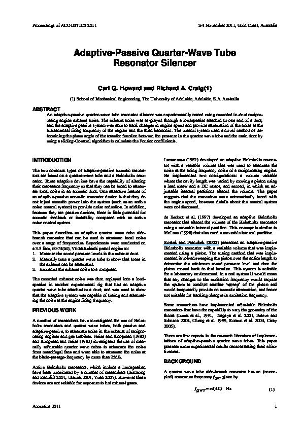 PDF) Adaptive-passive quarter-wave tube resonator silencer