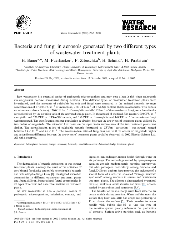 PDF) Bacteria and fungi in aerosols generated by two