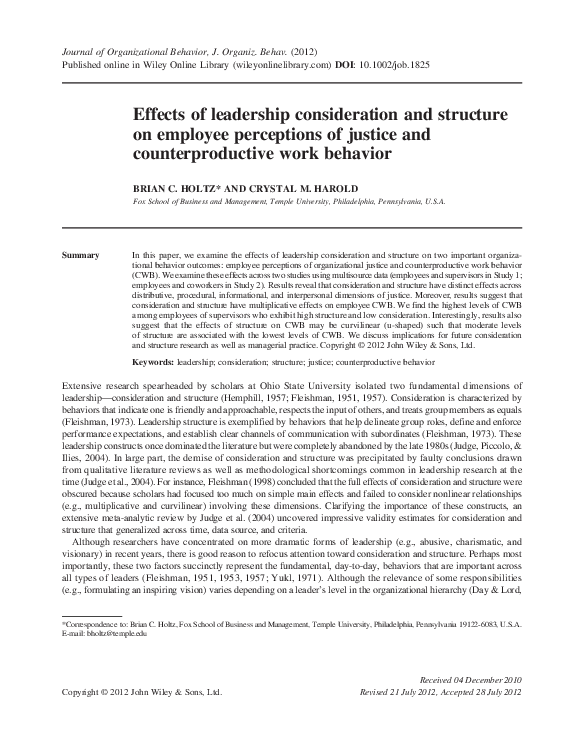 PDF) Effects of leadership consideration and structure on