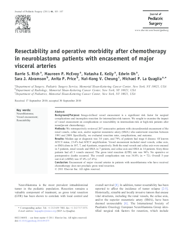 PDF) Resectability and operative morbidity after
