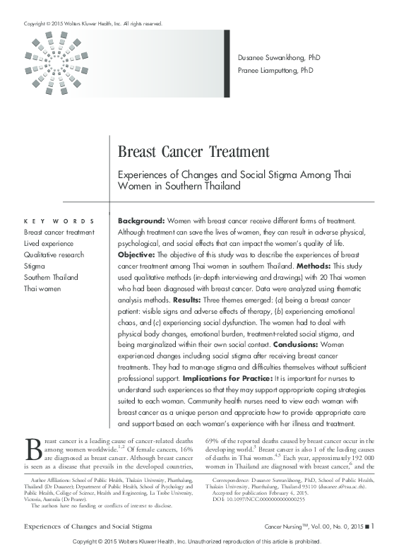 PDF) Breast Cancer Treatment: Experiences of Changes and