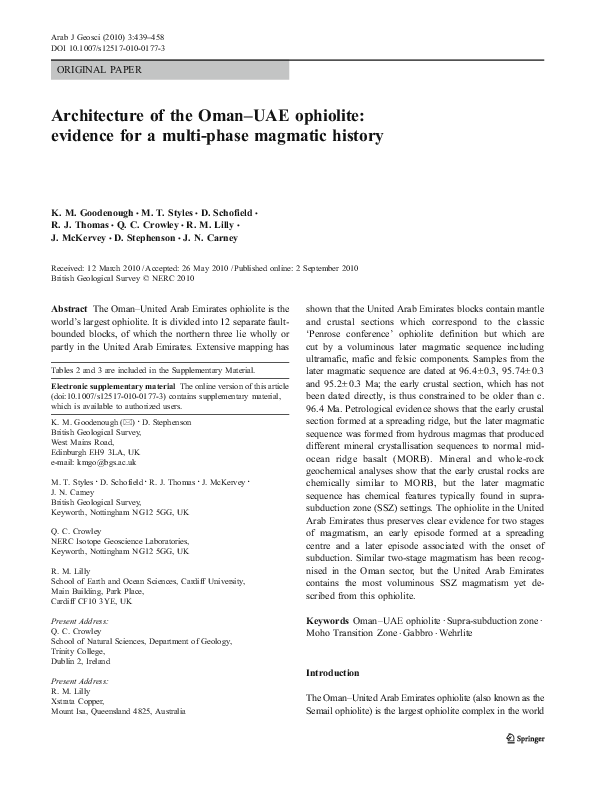 PDF) Architecture of the Oman–UAE Ophiolite: Evidence for a Multi
