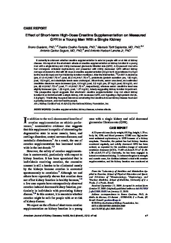 Effect of Short-term High-Dose Creatine Supplementation on Measured ... 32fb4ed095c