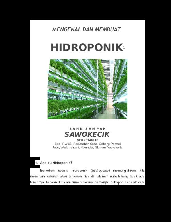 Doc Hidroponik 1 Jurnal Pertanian Agros Academia Edu