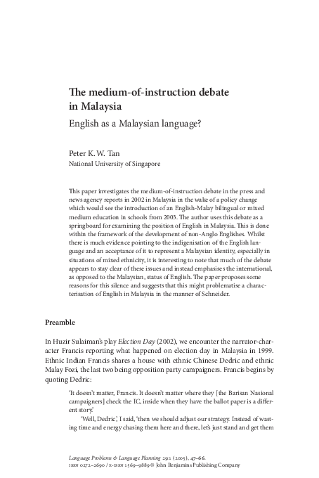 PDF) The medium-of-instruction debate in Malaysia: English
