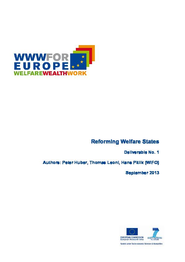 Permanecer morfina Fangoso  PDF) Reforming Welfare States   Peter Huber - Academia.edu