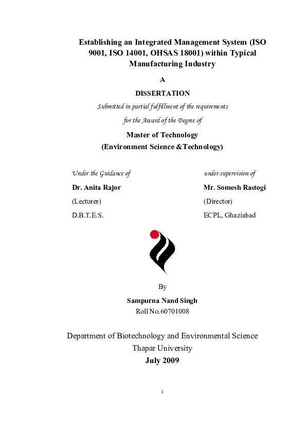 iso integrated management system pdf