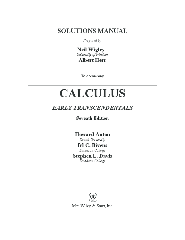 PDF) SOLUTIONS MANUAL CALCULUS EARLY TRANSCENDENTALS Seventh