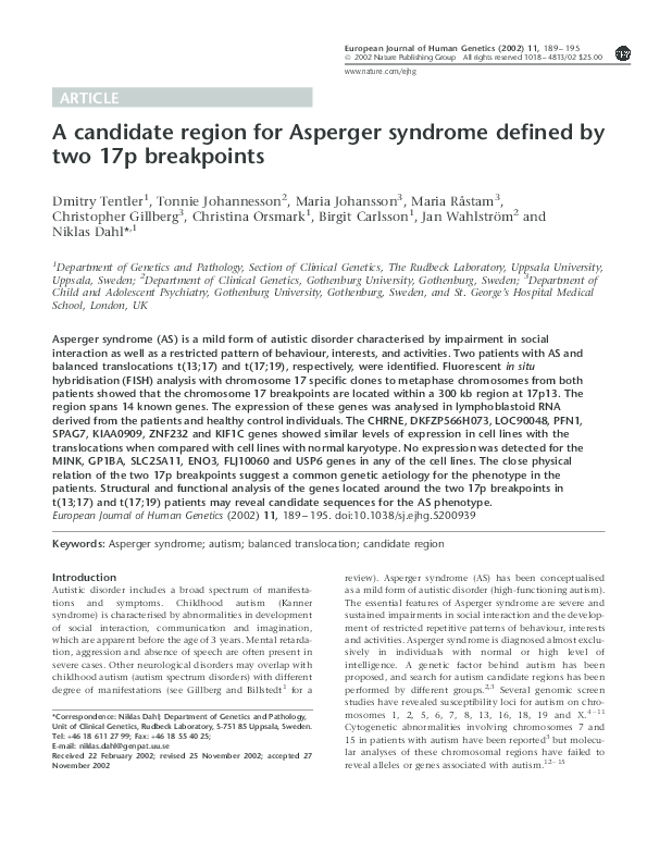 PDF) A candidate region for Asperger syndrome defined by two 17p