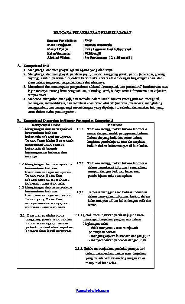 Pdf Contoh Rpp Laporan Hasil Observasi Smp Kelas Vii Isnaini Shaleh Academia Edu