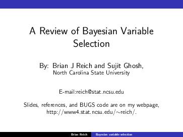 PDF) A Review of Bayesian Variable Selection   Zeynep öztürk