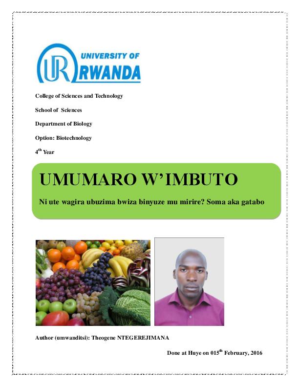 PDF) Ubuzima bwiza BINYUZE MU KURYA IMBUTO, IMBOGA, KUNYWA