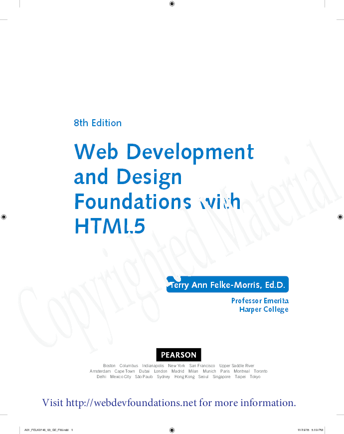 Pdf Web Development And Design Foundations With Html5 8th Edition Table Of Contents Terry Ann Morris Ed D Academia Edu