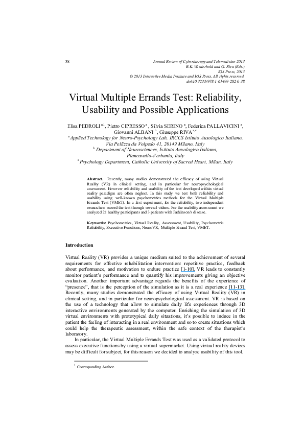 PDF) Virtual multiple errands test: Reliability, usability and