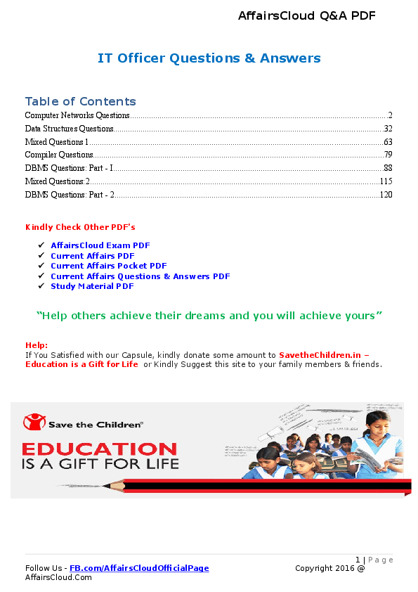 DOC) IT Officer Questions & Answers PDF by AffairsCloud | Affairs